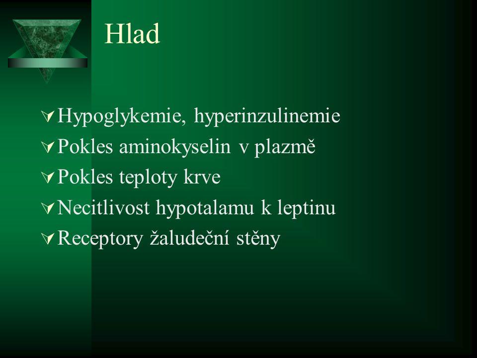 Hlad  Hypoglykemie, hyperinzulinemie  Pokles aminokyselin v plazmě  Pokles teploty krve  Necitlivost hypotalamu k leptinu  Receptory žaludeční st