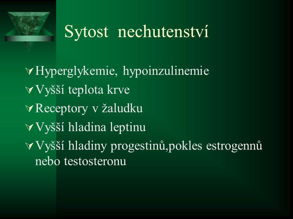 Sytost nechutenství  Hyperglykemie, hypoinzulinemie  Vyšší teplota krve  Receptory v žaludku  Vyšší hladina leptinu  Vyšší hladiny progestinů,pok