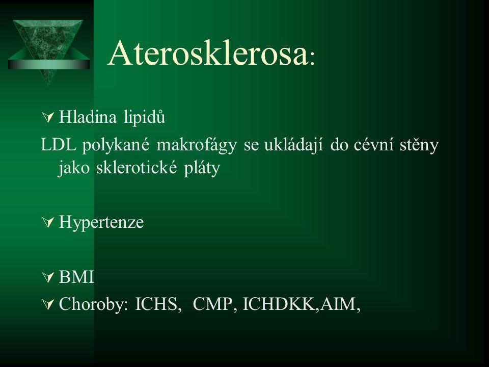 Aterosklerosa :  Hladina lipidů LDL polykané makrofágy se ukládají do cévní stěny jako sklerotické pláty  Hypertenze  BMI  Choroby: ICHS, CMP, ICH