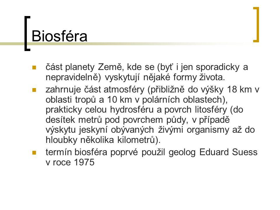 Biosféra část planety Země, kde se (byť i jen sporadicky a nepravidelně) vyskytují nějaké formy života. zahrnuje část atmosféry (přibližně do výšky 18