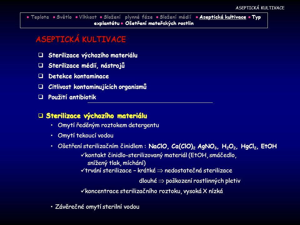 ASEPTICKÁ KULTIVACE  Sterilizace výchozího materiálu  Sterilizace médií, nástrojů  Detekce kontaminace  Citlivost kontaminujících organismů  Použití antibiotik Sterilizace výchozího materiálu  Sterilizace výchozího materiálu Omytí ředěným roztokem detergentu Omytí tekoucí vodou Ošetření sterilizačním činidlem : NaClO, Ca(ClO) 2 AgNO 3, H 2 O 2, HgCl 2, EtOH kontakt činidlo-sterilizovaný materiál (EtOH, smáčedlo, snížený tlak, míchání) trvání sterilizace – krátké  nedostatečná sterilizace dlouhé  poškození rostlinných pletiv koncentrace sterilizačního roztoku, vysoká X nízká Závěrečné omytí sterilní vodou ASEPTICKÁ KULTIVACE  Teplota  Světlo  Vlhkost  Složení plynné fáze  Složení médií  Aseptická kultivace  Typ explantátu  Ošetření mateřských rostlin