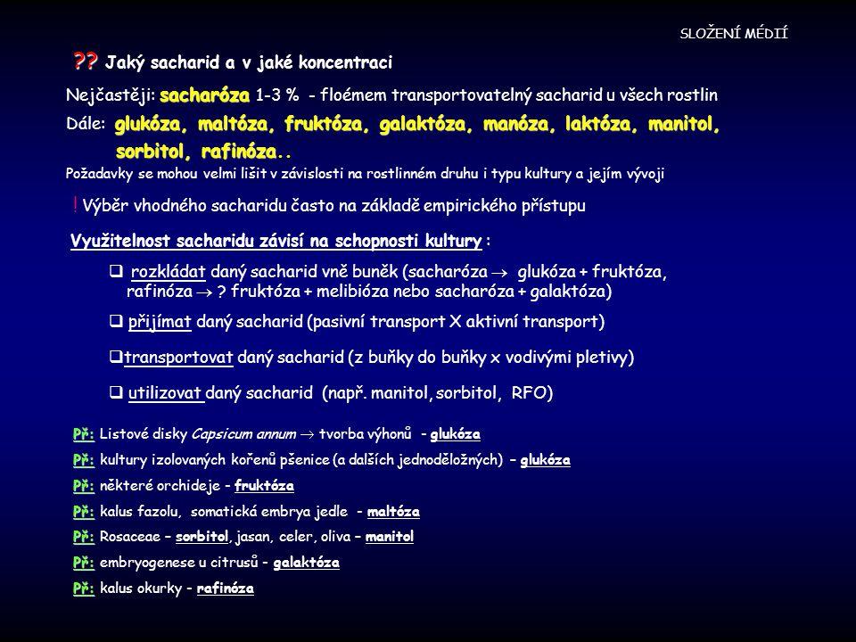 ?? ?? Jaký sacharid a v jaké koncentraci sacharóza Nejčastěji: sacharóza 1-3 % - floémem transportovatelný sacharid u všech rostlin glukóza, maltóza,