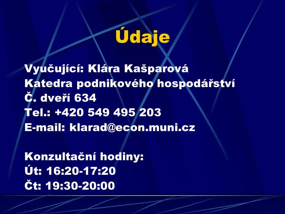 Údaje Vyučující: Klára Kašparová Katedra podnikového hospodářství Č. dveří 634 Tel.: +420 549 495 203 E-mail: klarad@econ.muni.cz Konzultační hodiny: