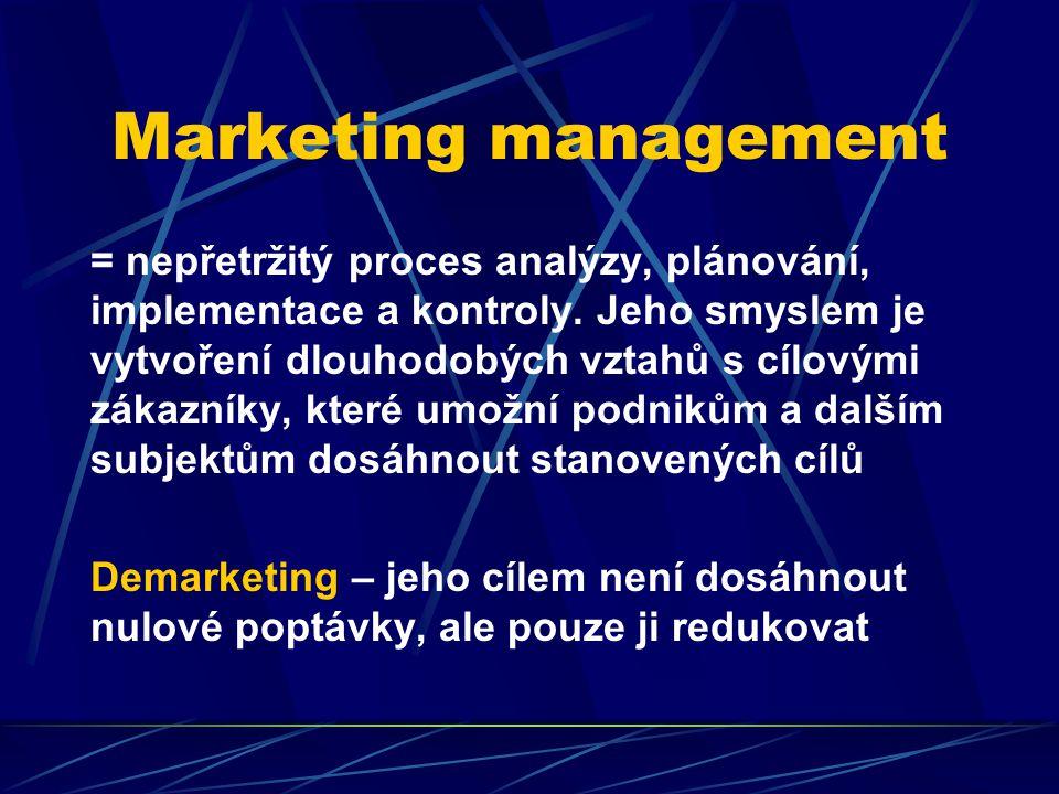 Marketing management = nepřetržitý proces analýzy, plánování, implementace a kontroly. Jeho smyslem je vytvoření dlouhodobých vztahů s cílovými zákazn