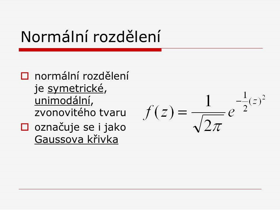 Normální rozdělení  normální rozdělení je symetrické, unimodální, zvonovitého tvaru  označuje se i jako Gaussova křivka