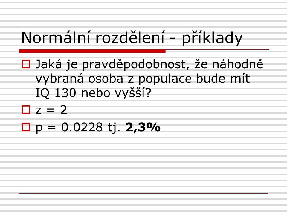 Normální rozdělení - příklady  Jaká je pravděpodobnost, že náhodně vybraná osoba z populace bude mít IQ 130 nebo vyšší?  z = 2  p = 0.0228 tj. 2,3%