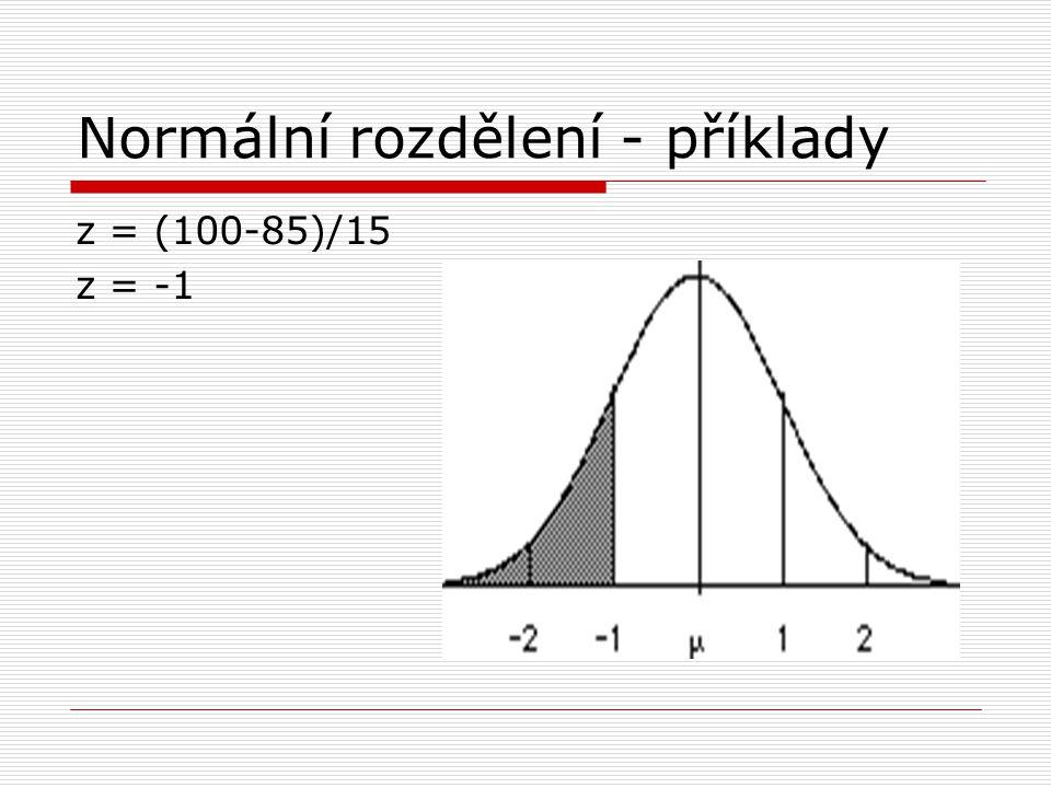 Normální rozdělení - příklady z = (100-85)/15 z = -1