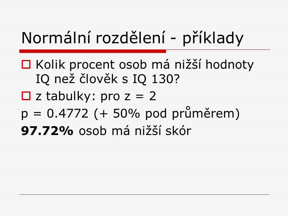 Normální rozdělení - příklady  Kolik procent osob má nižší hodnoty IQ než člověk s IQ 130?  z tabulky: pro z = 2 p = 0.4772 (+ 50% pod průměrem) 97.