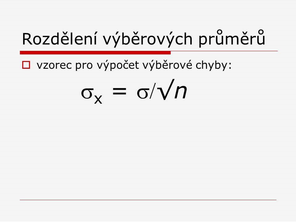 Rozdělení výběrových průměrů  vzorec pro výpočet výběrové chyby:  x = √n