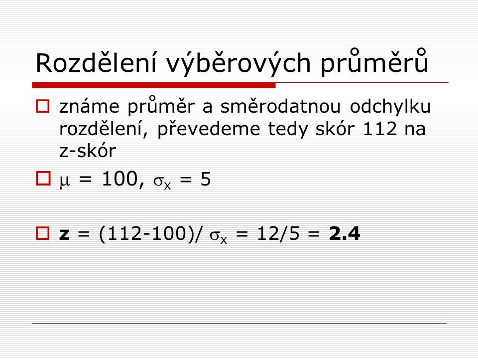  známe průměr a směrodatnou odchylku rozdělení, převedeme tedy skór 112 na z-skór   = 100,  x = 5  z = (112-100)/  x = 12/5 = 2.4