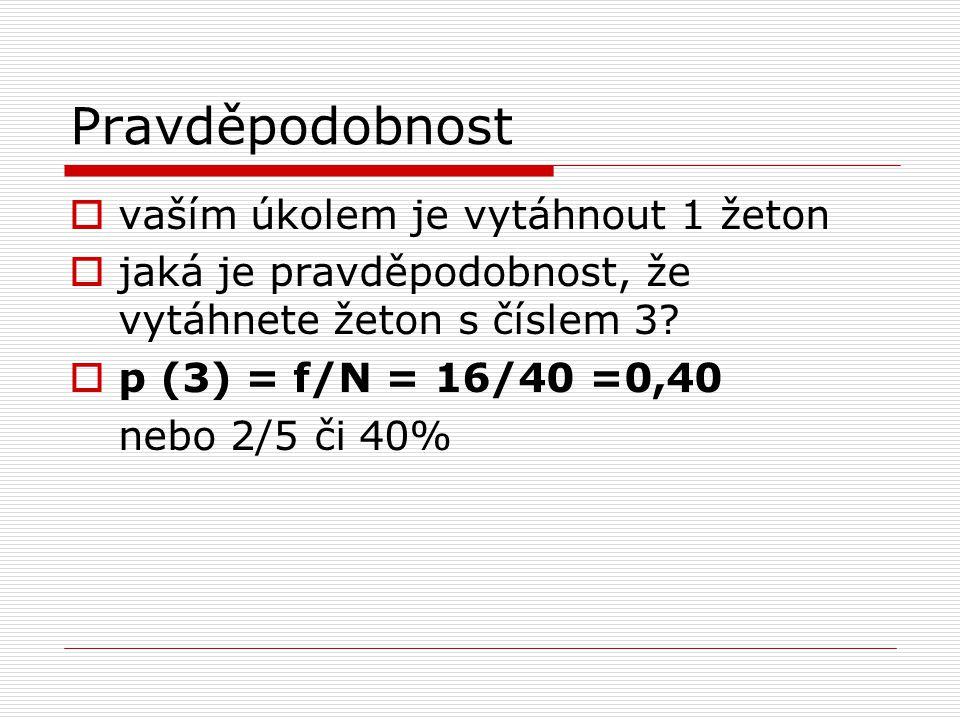 Pravděpodobnost  vaším úkolem je vytáhnout 1 žeton  jaká je pravděpodobnost, že vytáhnete žeton s číslem 3?  p (3) = f/N = 16/40 =0,40 nebo 2/5 či