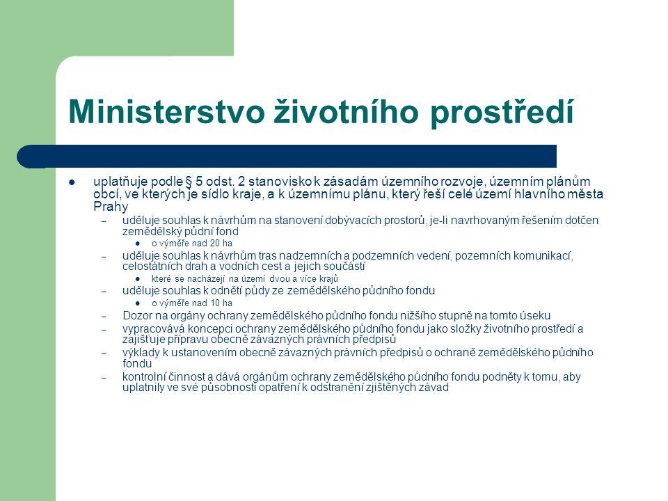 Ministerstvo životního prostředí uplatňuje podle § 5 odst. 2 stanovisko k zásadám územního rozvoje, územním plánům obcí, ve kterých je sídlo kraje, a