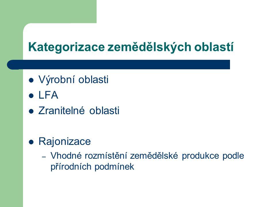Kategorizace zemědělských oblastí Výrobní oblasti LFA Zranitelné oblasti Rajonizace – Vhodné rozmístění zemědělské produkce podle přírodních podmínek