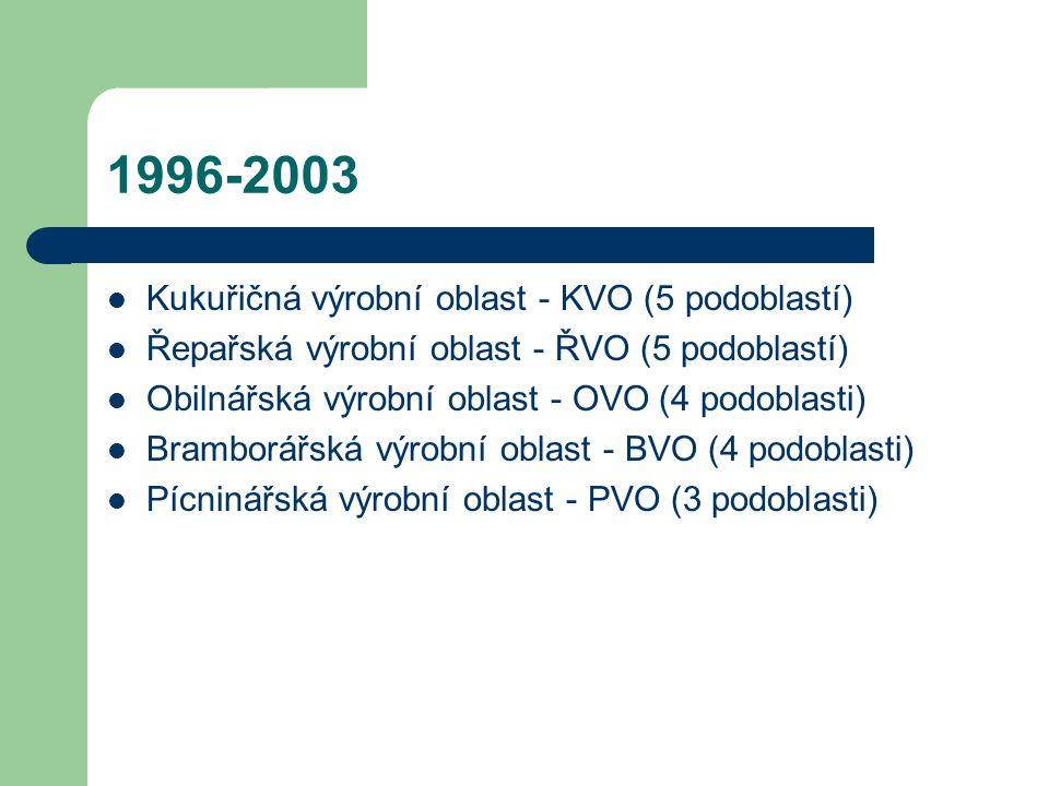 1996-2003 Kukuřičná výrobní oblast - KVO (5 podoblastí) Řepařská výrobní oblast - ŘVO (5 podoblastí) Obilnářská výrobní oblast - OVO (4 podoblasti) Bramborářská výrobní oblast - BVO (4 podoblasti) Pícninářská výrobní oblast - PVO (3 podoblasti)