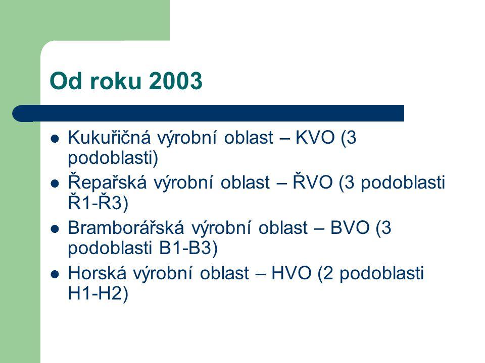 Od roku 2003 Kukuřičná výrobní oblast – KVO (3 podoblasti) Řepařská výrobní oblast – ŘVO (3 podoblasti Ř1-Ř3) Bramborářská výrobní oblast – BVO (3 pod