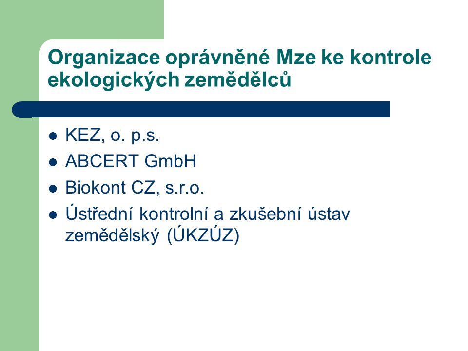 Organizace oprávněné Mze ke kontrole ekologických zemědělců KEZ, o. p.s. ABCERT GmbH Biokont CZ, s.r.o. Ústřední kontrolní a zkušební ústav zemědělský