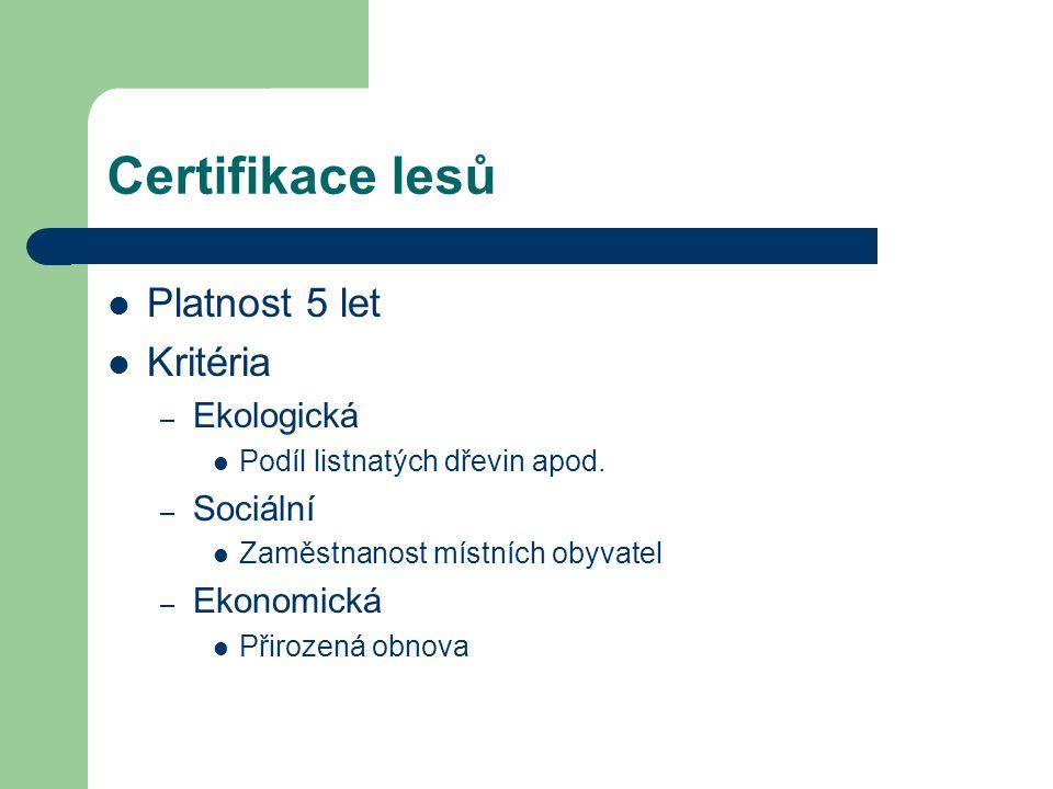 Certifikace lesů Platnost 5 let Kritéria – Ekologická Podíl listnatých dřevin apod. – Sociální Zaměstnanost místních obyvatel – Ekonomická Přirozená o