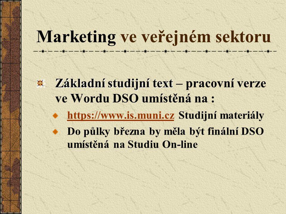 Marketing ve veřejném sektoru Základní studijní text Základní studijní text – pracovní verze ve Wordu DSO umístěná na : https://www.is.muni.czhttps://