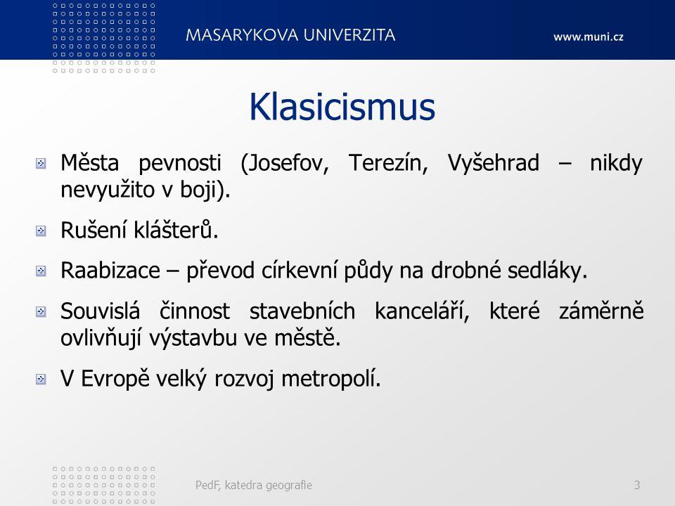 Klasicismus Města pevnosti (Josefov, Terezín, Vyšehrad – nikdy nevyužito v boji).