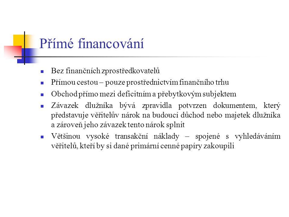 Bez finančních zprostředkovatelů Přímou cestou – pouze prostřednictvím finančního trhu Obchod přímo mezi deficitním a přebytkovým subjektem Závazek dl
