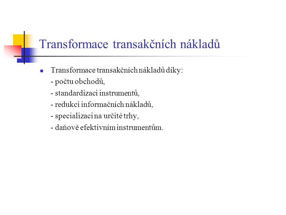Transformace transakčních nákladů Transformace transakčních nákladů díky: - počtu obchodů, - standardizaci instrumentů, - redukci informačních nákladů