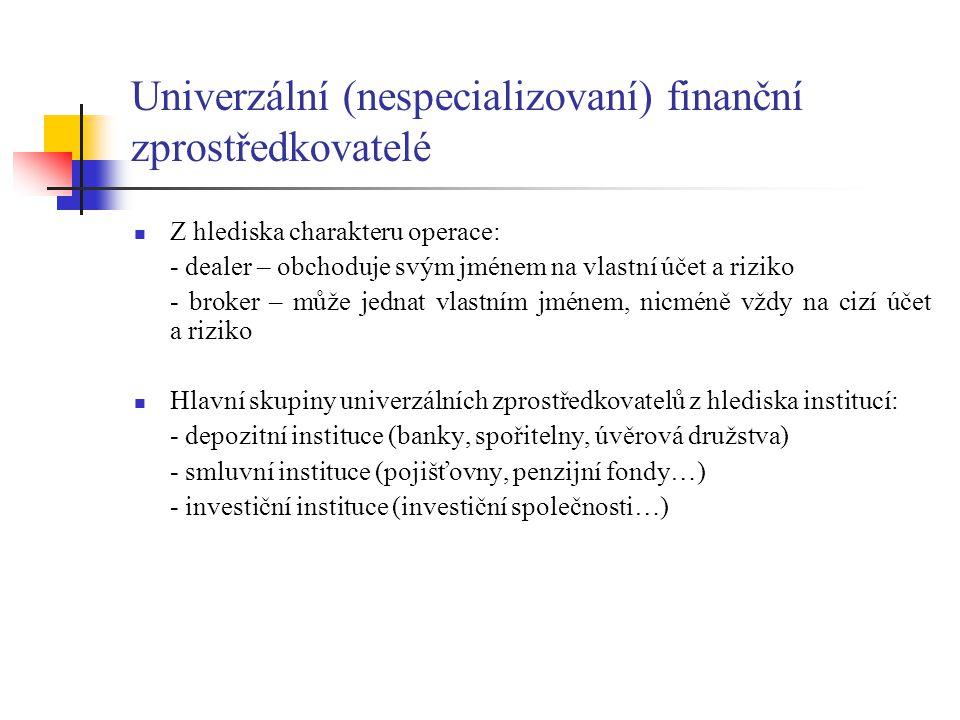Univerzální (nespecializovaní) finanční zprostředkovatelé Z hlediska charakteru operace: - dealer – obchoduje svým jménem na vlastní účet a riziko - b
