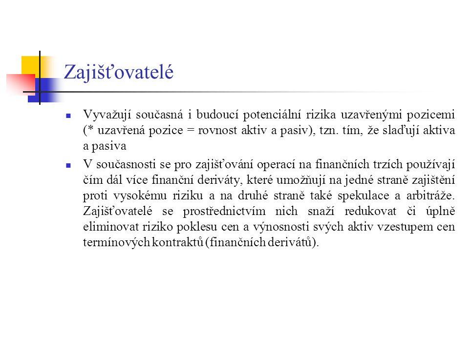 Zajišťovatelé Vyvažují současná i budoucí potenciální rizika uzavřenými pozicemi (* uzavřená pozice = rovnost aktiv a pasiv), tzn. tím, že slaďují akt