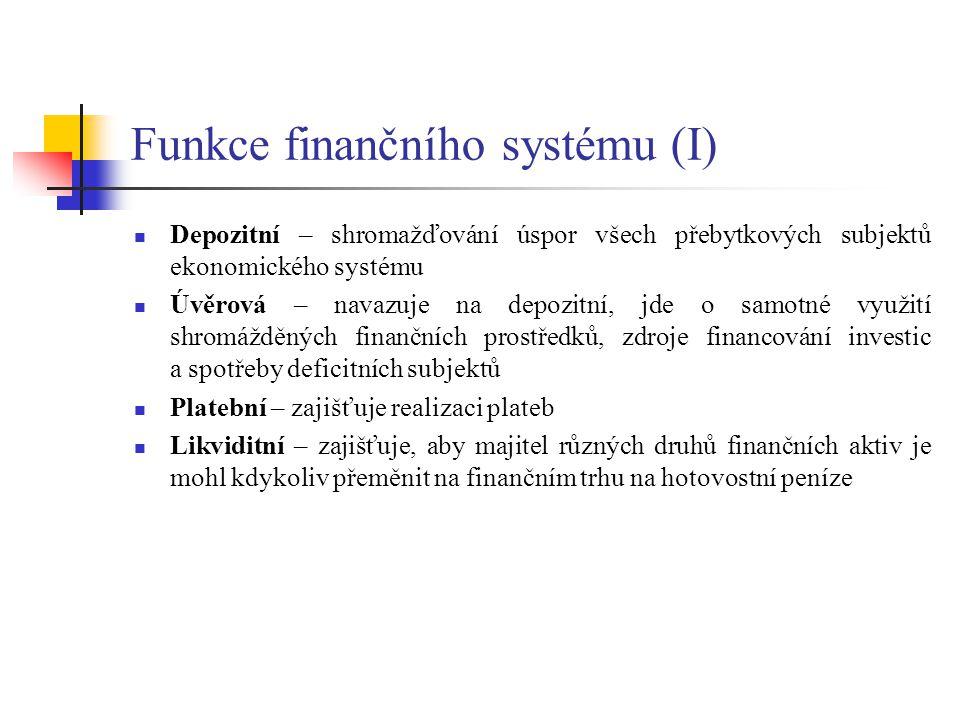 Funkce finančního systému (I) Depozitní – shromažďování úspor všech přebytkových subjektů ekonomického systému Úvěrová – navazuje na depozitní, jde o