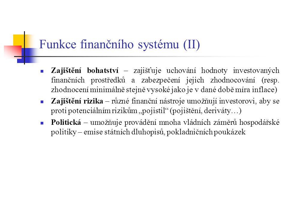 Funkce finančního systému (II) Zajištění bohatství – zajišťuje uchování hodnoty investovaných finančních prostředků a zabezpečení jejich zhodnocování