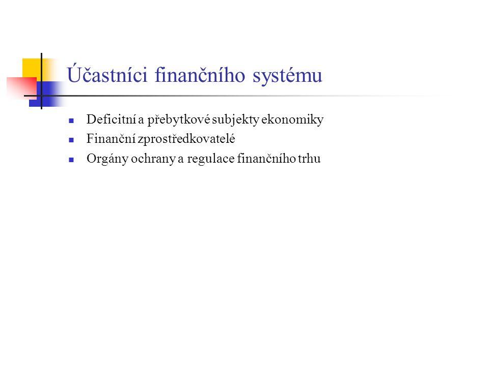 Účastníci finančního systému Deficitní a přebytkové subjekty ekonomiky Finanční zprostředkovatelé Orgány ochrany a regulace finančního trhu