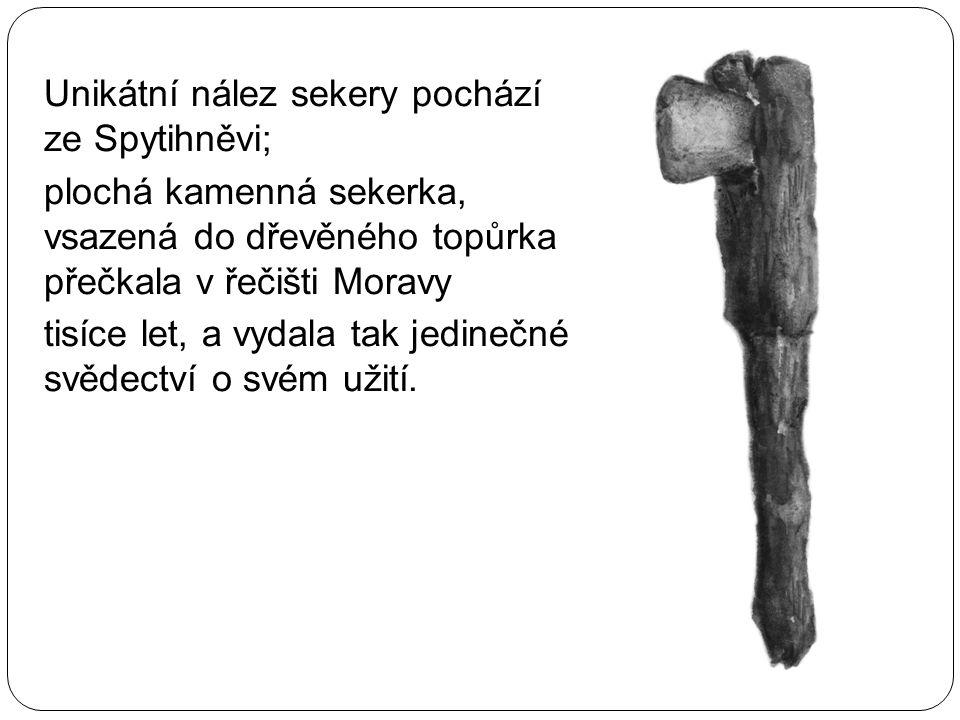 Unikátní nález sekery pochází ze Spytihněvi; plochá kamenná sekerka, vsazená do dřevěného topůrka přečkala v řečišti Moravy tisíce let, a vydala tak j