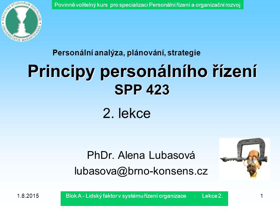 Povinně volitelný kurs pro specializaci Personální řízení a organizační rozvoj 1.8.2015Blok A - Lidský faktor v systému řízení organizace Lekce 2.1 Pr