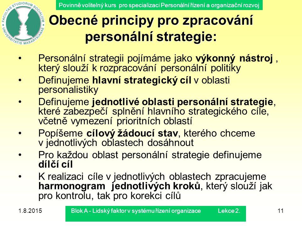 Povinně volitelný kurs pro specializaci Personální řízení a organizační rozvoj 1.8.2015Blok A - Lidský faktor v systému řízení organizace Lekce 2.11 O