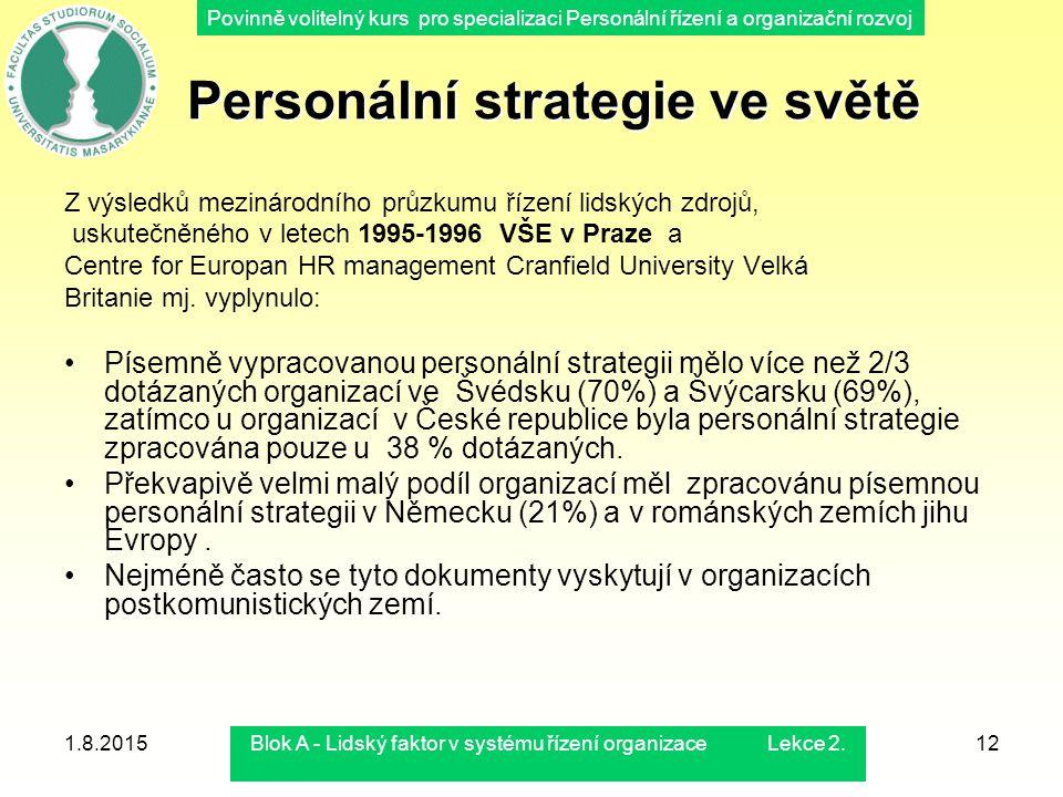 Povinně volitelný kurs pro specializaci Personální řízení a organizační rozvoj 1.8.2015Blok A - Lidský faktor v systému řízení organizace Lekce 2.12 P