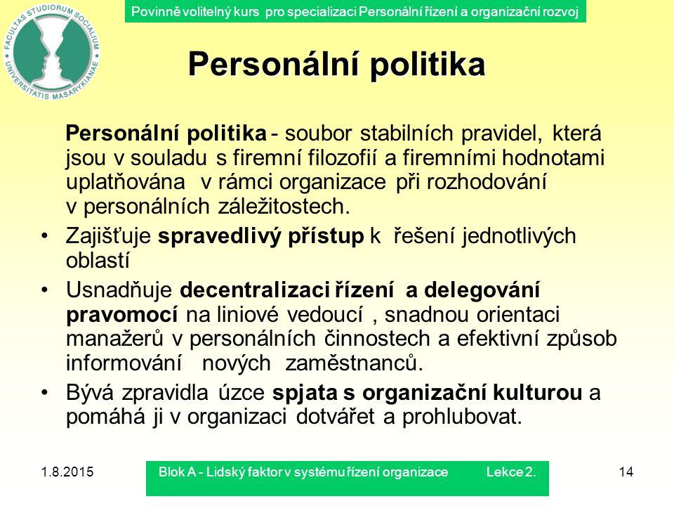Povinně volitelný kurs pro specializaci Personální řízení a organizační rozvoj 1.8.2015Blok A - Lidský faktor v systému řízení organizace Lekce 2.14 P