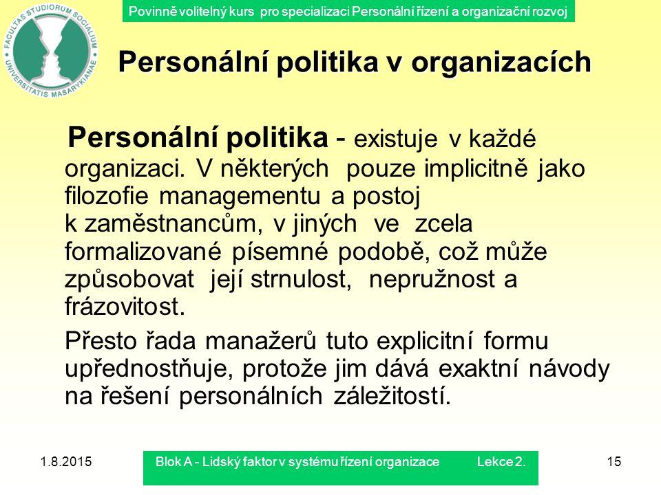 Povinně volitelný kurs pro specializaci Personální řízení a organizační rozvoj 1.8.2015Blok A - Lidský faktor v systému řízení organizace Lekce 2.15 P