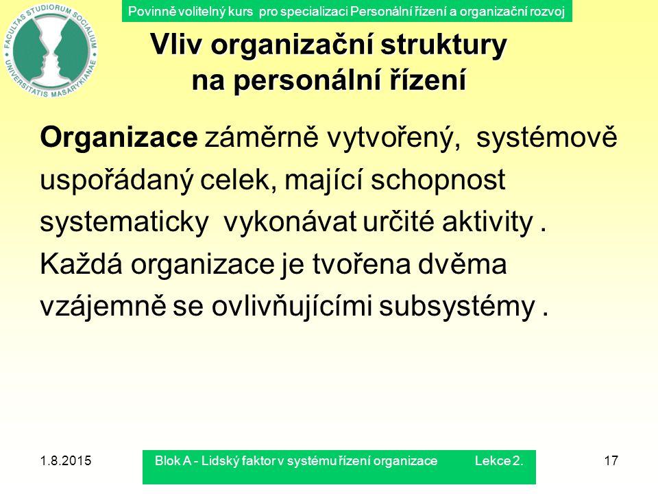 Povinně volitelný kurs pro specializaci Personální řízení a organizační rozvoj 1.8.2015Blok A - Lidský faktor v systému řízení organizace Lekce 2.17 V