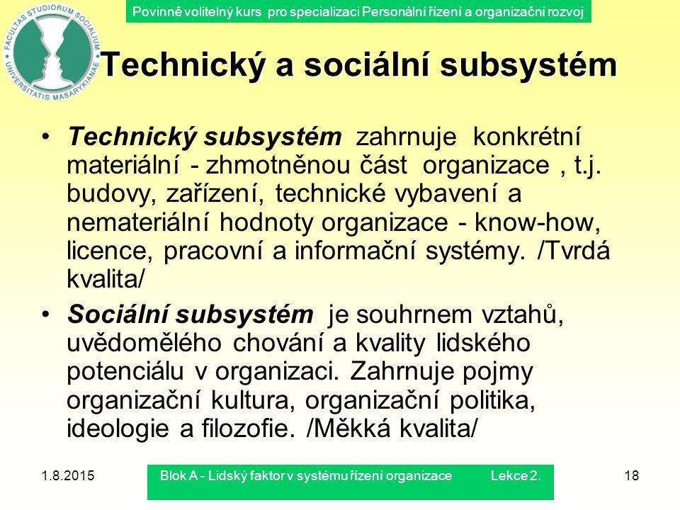 Povinně volitelný kurs pro specializaci Personální řízení a organizační rozvoj 1.8.2015Blok A - Lidský faktor v systému řízení organizace Lekce 2.18 T