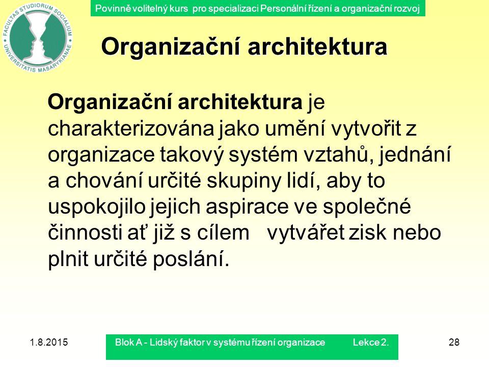 Povinně volitelný kurs pro specializaci Personální řízení a organizační rozvoj 1.8.2015Blok A - Lidský faktor v systému řízení organizace Lekce 2.28 O