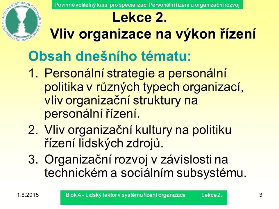 Povinně volitelný kurs pro specializaci Personální řízení a organizační rozvoj 1.8.2015Blok A - Lidský faktor v systému řízení organizace Lekce 2.3 Le