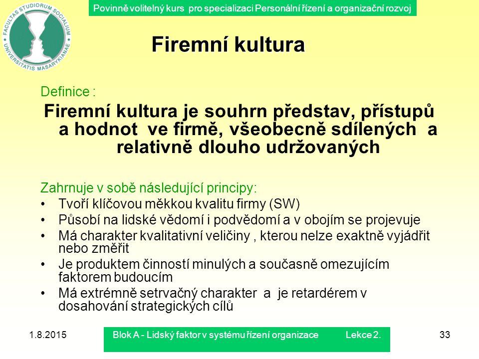 Povinně volitelný kurs pro specializaci Personální řízení a organizační rozvoj 1.8.2015Blok A - Lidský faktor v systému řízení organizace Lekce 2.33 F
