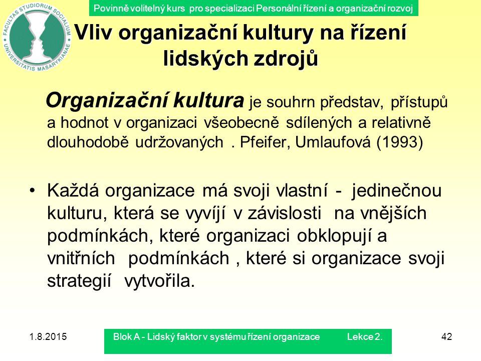 Povinně volitelný kurs pro specializaci Personální řízení a organizační rozvoj 1.8.2015Blok A - Lidský faktor v systému řízení organizace Lekce 2.42 V