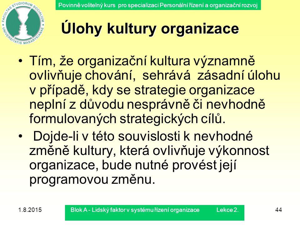 Povinně volitelný kurs pro specializaci Personální řízení a organizační rozvoj 1.8.2015Blok A - Lidský faktor v systému řízení organizace Lekce 2.44 Ú