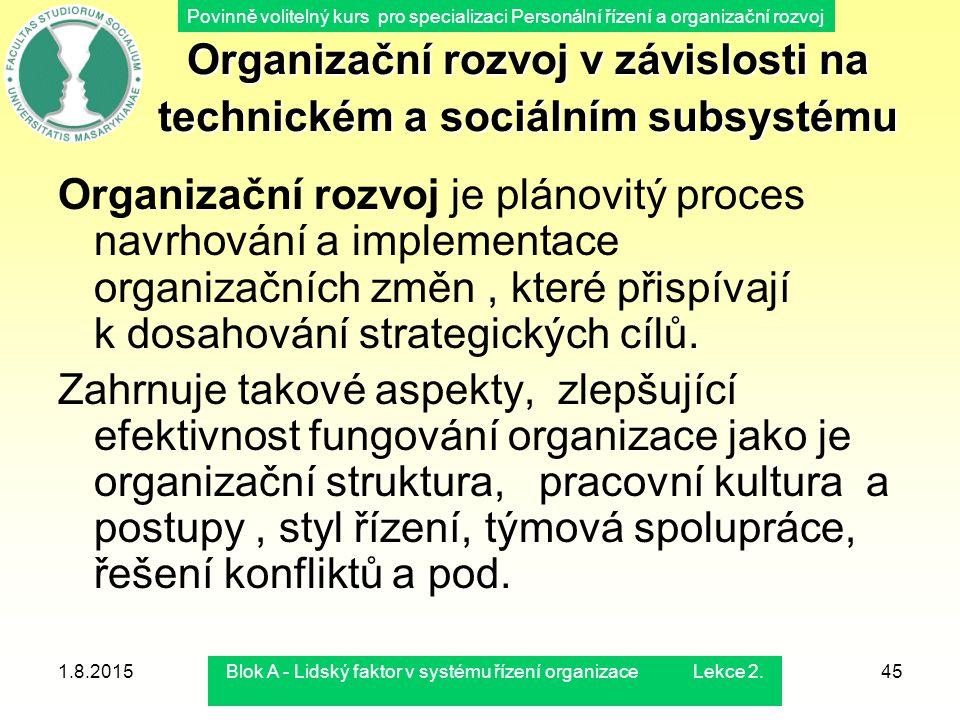 Povinně volitelný kurs pro specializaci Personální řízení a organizační rozvoj 1.8.2015Blok A - Lidský faktor v systému řízení organizace Lekce 2.45 O