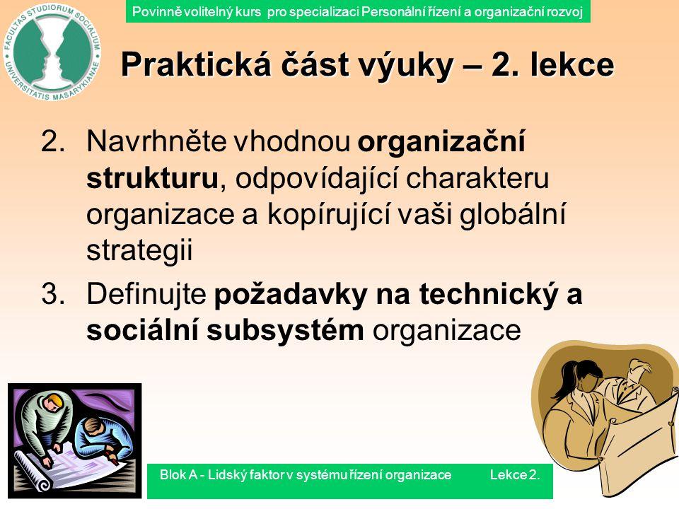 Povinně volitelný kurs pro specializaci Personální řízení a organizační rozvoj 1.8.2015Blok A - Lidský faktor v systému řízení organizace Lekce 2.51 P
