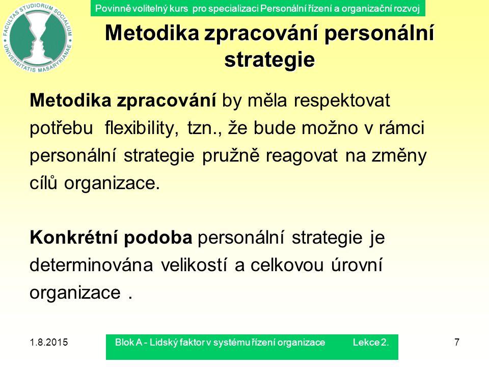 Povinně volitelný kurs pro specializaci Personální řízení a organizační rozvoj 1.8.2015Blok A - Lidský faktor v systému řízení organizace Lekce 2.7 Me