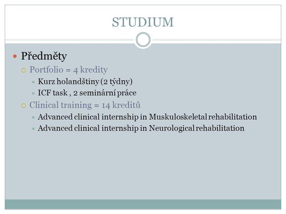 STUDIUM Předměty  Portfolio = 4 kredity  Kurz holandštiny (2 týdny)  ICF task, 2 seminární práce  Clinical training = 14 kreditů  Advanced clinic