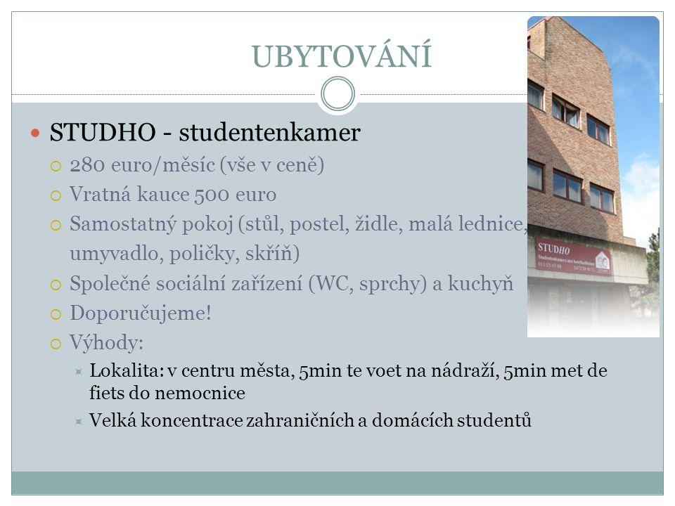UBYTOVÁNÍ STUDHO - studentenkamer  280 euro/měsíc (vše v ceně)  Vratná kauce 500 euro  Samostatný pokoj (stůl, postel, židle, malá lednice, umyvadl