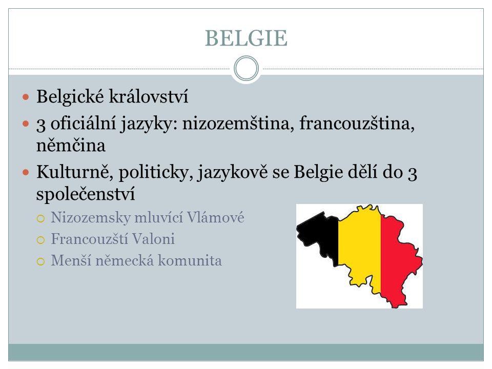 BELGIE Belgické království 3 oficiální jazyky: nizozemština, francouzština, němčina Kulturně, politicky, jazykově se Belgie dělí do 3 společenství  N