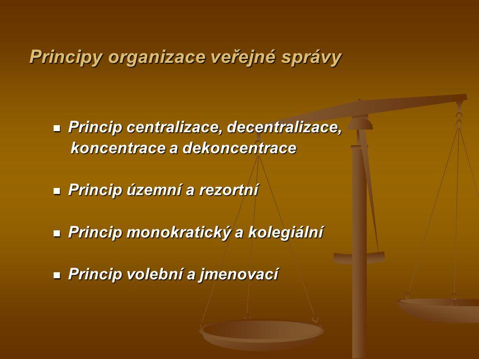 Principy organizace veřejné správy Principy organizace veřejné správy Princip centralizace, decentralizace, Princip centralizace, decentralizace, konc